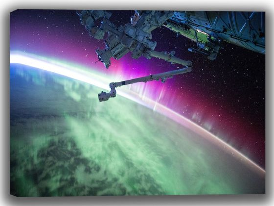 Satellite with View of Northern Lights/Aurora Borealis. Space/Universe Canvas. Sizes: A4/A3/A2/A1 (4011)